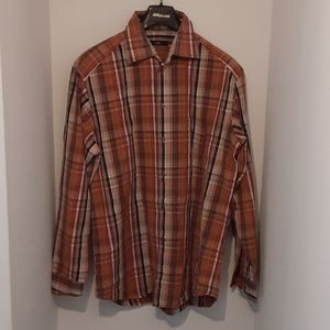 Z Zegna Sport Brown Plaid Shirt Large